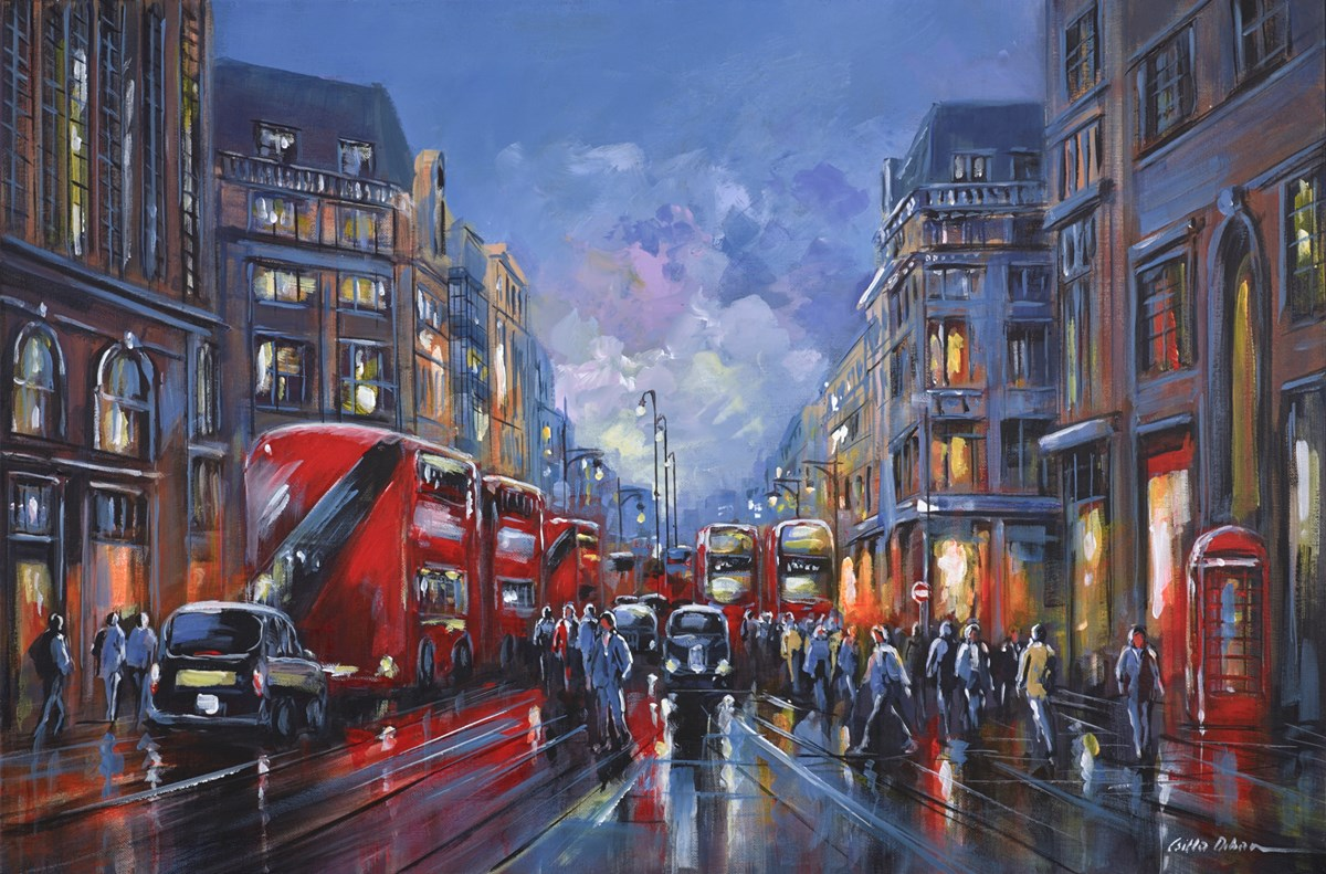 Busy Oxford Street, London by csilla orban -  sized 36x24 inches. Available from Whitewall Galleries